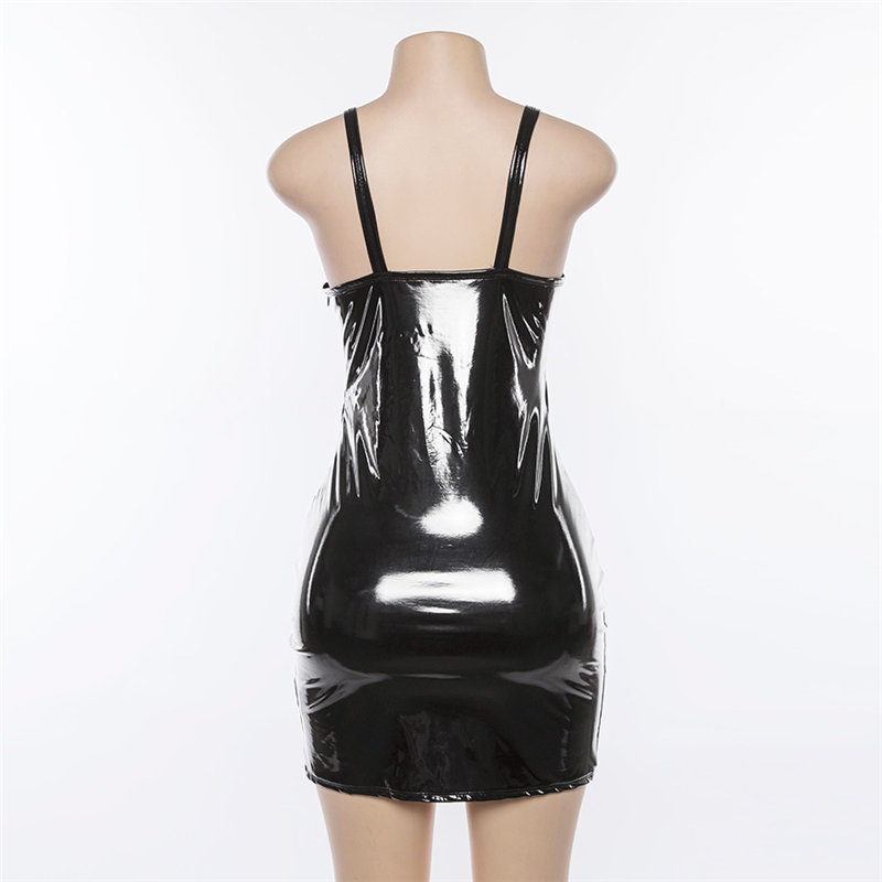 d706adee1cb Black   White PU Latex Vinyl Mini Bodycon Dress Celeb Kylie Jenner ...