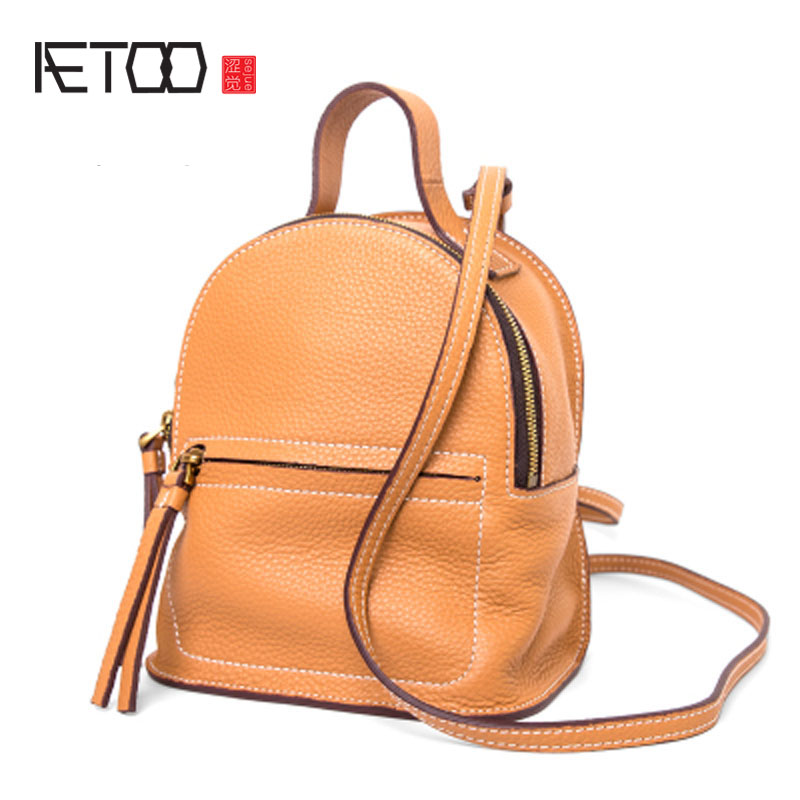 AETOO Cowhide shoulder shoulder bag autumn and winter new Korean version of the tide simple leather leather small backpack mini qiaobao 2018 new korean version of the first layer of women s leather packet messenger bag female shoulder diagonal cross bag