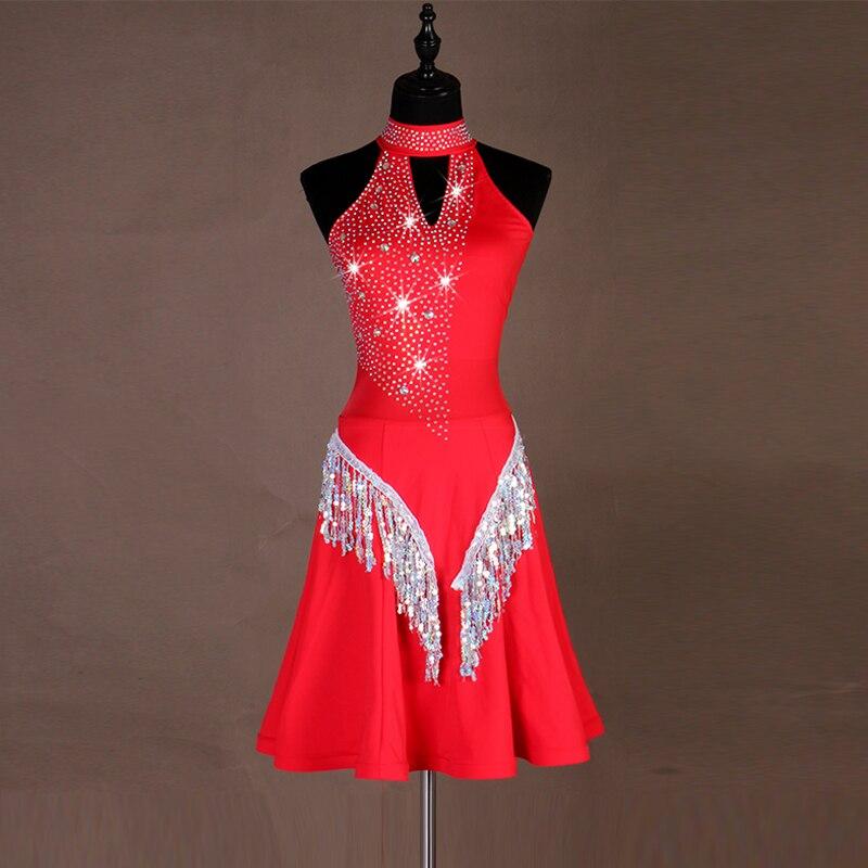 Rhinestone Latin Dance Dress Sexy Cha Cha Salsa Tango Samba Rumba Competition Outfit Women Performance Fringe Dresses DC2455