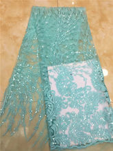 2019 Latest Popular Designs Water Green sequins Fabric African Lace Fabric High Quality indian silk George lace fabric wedding(China)