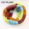 CN-RUBR Knitted Scarf  Women Fashion Pure Woolen Scarf Autumn Winter Scarf Women Warm Shawls 2 Circle Cable Knit Long Ring Scarf