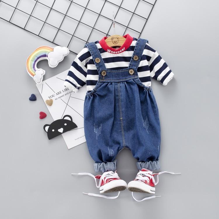 Children Kid Boy Girl Clothing Striped Shirt Denim Strap Set Costume  Baby Spring Fall Cotton Girls Infant