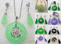 Free shipping .300 8 color-green/purple /black bless happiness pendant earring/ ring set can choose