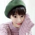 Dt645 mujeres gatsby sombrero vintage invierno beanie sombrero de la boina de lana sombreros de invierno llanura casquette chapeu feminino hembra invierno sombrero baret