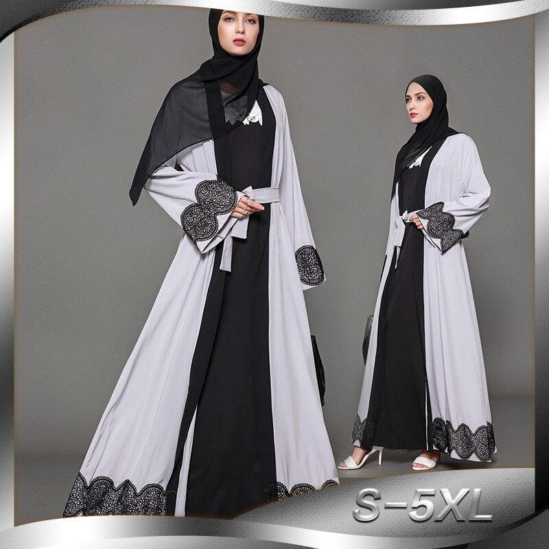 Women Muslim Dress Plus Size 5XL Appliques Abaya Turkish Clothes for Muslim Women Gray Dubai Robe