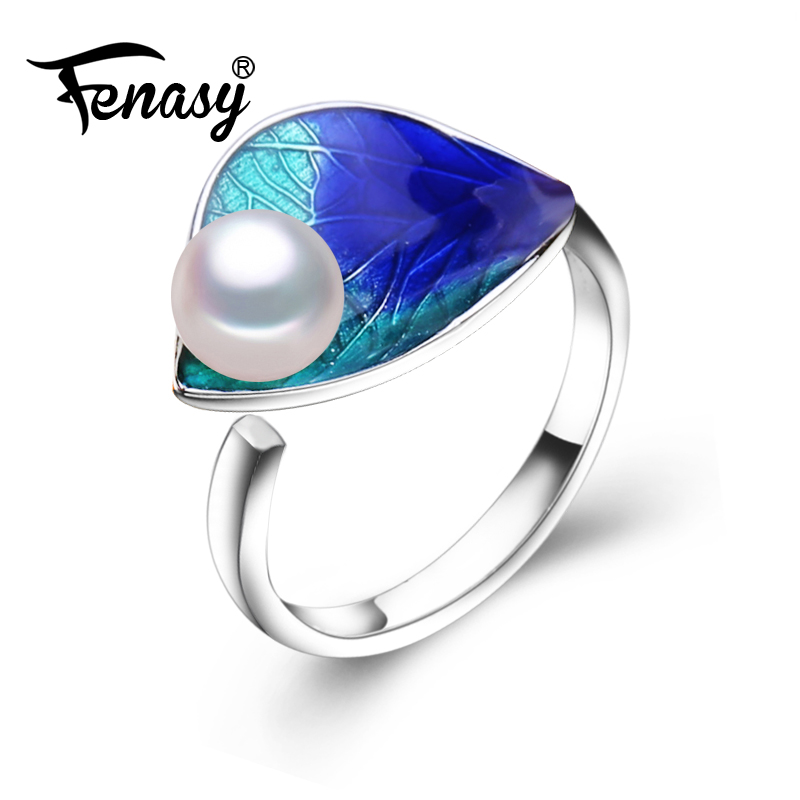 FENASY Natural Pearl Rings For Women Pearl Jewelry Female Bohemian Party Colorful Flower 925 Sterling Silver Ring