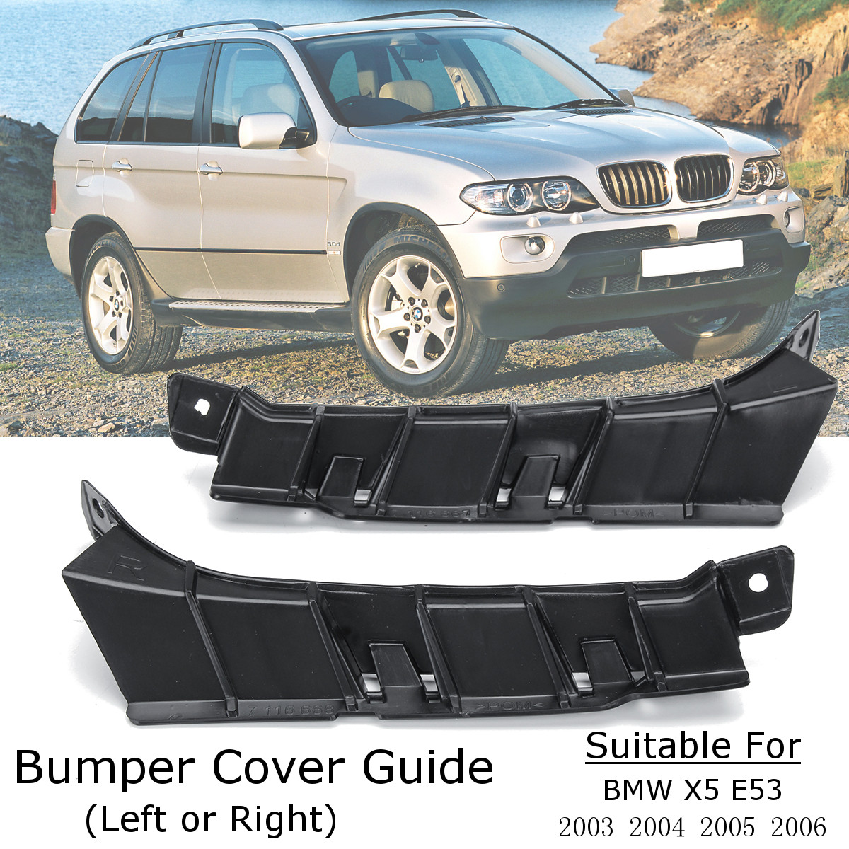 Car Front Left / Right Bumper Cover Bar Support Bracket Holder Guide for BMW X5 E53 2003 2004 2005 2006 51117116667 51117116668 pair car front headlamp clear lens headlight plastic shell clear cover for bmw e90 e91 2004 2005 2006 2007