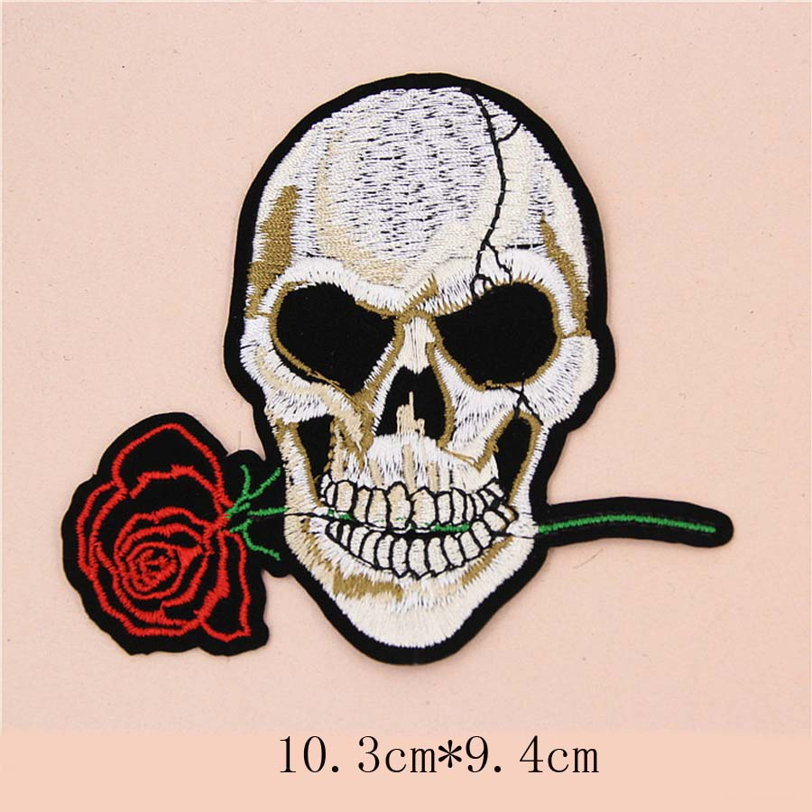 Fabric Embroidered Skull Rose Wing Patch Clothes Sticker Bag Sew Iron On Applique DIY Apparel Sewing Clothing Accessories BU138 in Patches from Home Garden