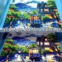 AZQSD Diamond Painting Scenic LED Light Framed Full Round Drill 5D DIY Diamond Mosaic City Tram Full Set Wall Art 40x50cm
