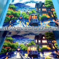 AZQSD diamante pintura escénica luz LED enmarcada taladro redondo completo 5D DIY mosaico de diamantes ciudad Tram juego completo arte de pared 40x50cm