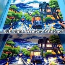 Azqsd Diamant Schilderen Scenic Led Licht Ingelijst Volledige Ronde Boor 5D Diy Diamond Mozaïek Stad Tram Volledige Set Wall Art 40x50cm