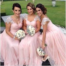 2016 Pink Appliques Cheap Bridesmaid Dresses Chiffon A Line Floor-Length Vestido De Festa De Casamento Robe Demoiselle D'honneur