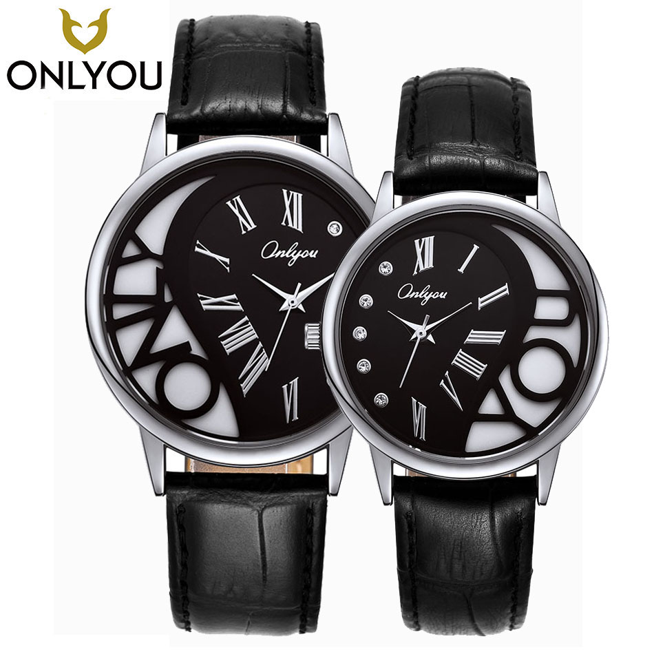 ONLYOU Lover Watch Women Fashion Leather Waterproof Quzrtz Clock Best Love's Gift For Men Casual Wristwatch Wholesale mysterious doctor who antique pocket watch with neckalce chain free shipping best gift for men women