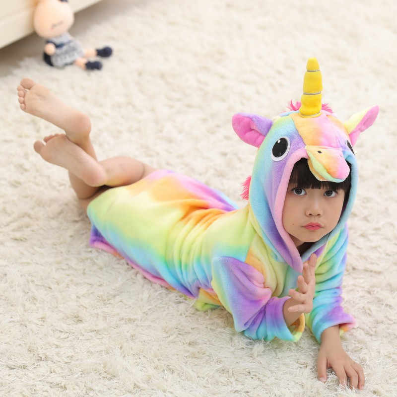 ... Cute Baby Bathrobes for Girls Pajamas Kids Rainbow Unicorn Pattern Hooded  Beach Towel Boys Bath Robe ... b20fe18ef