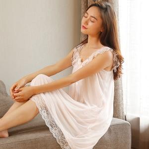 Image 2 - Sleep Lounge ชุดนอนลูกไม้ Nightgowns เซ็กซี่เสื้อผ้าในร่มบ้านสีขาวสีชมพู Chemise โบว์น่ารักสายรัด Nightdress