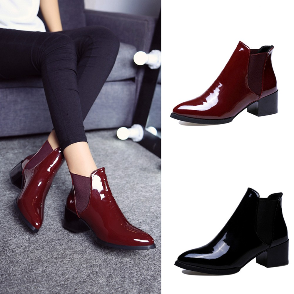 276d345eb272e Women's Shoes - 2019 Elasticated Patent Leather Ankle Boots For ...