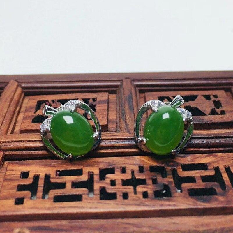 Certificat _ 2019 nouvelles boucles d'oreilles pour femmes en forme de pomme Jades vert naturel s925 boucles d'oreilles en argent cadeau pour bijoux pour femmes