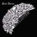 Crystal Austrian Rhinestone Flower Bouquet Hair Comb Wedding Bridal Vintage Hair Accessories Women Headpieces Head wear Party