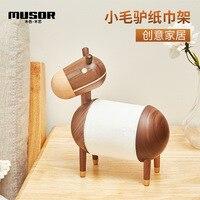 Paper towel holder Cartoon Creative wooden Donkey Towel rack Home Decoration Living Room Paper Holder paper towel dispenser