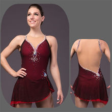 Figure Skating Dress Women's Girls' Ice Skating Competition Dress sleeveless Shoulder strap design Cheerleading Red wine(China)