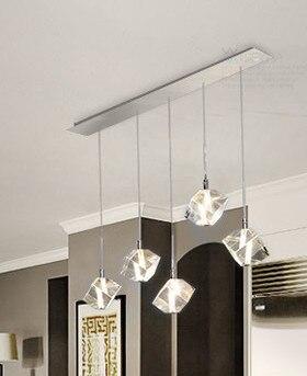 цены  Transparent K9 Crystal LED Dining Room Bar Pendant Lights Modern Fashion Lamps For Home Simple Stainless Steel Light Fixture