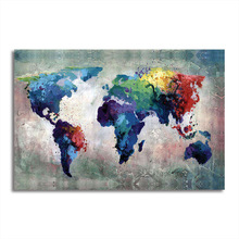 Large World Map Poster Wall Sticker Hand Painted Canvas Oil Painting Pictures for Living Room Decoration of the