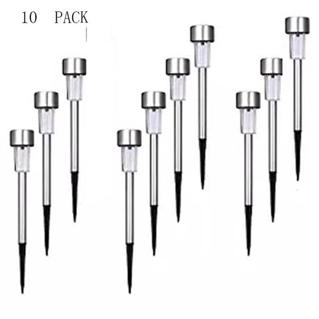 U-EASY 10 PCs LED Solar Lawn Light Outdoor Landscape Path Patio led Solar Lights Stainless Steel Solar LED Lamp