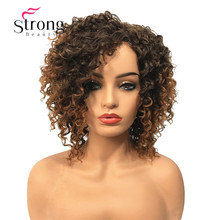 StrongBeauty Short Brown Highlights Ombre Curly Afro High Heat Ok Full Synthetic Wig Wigs