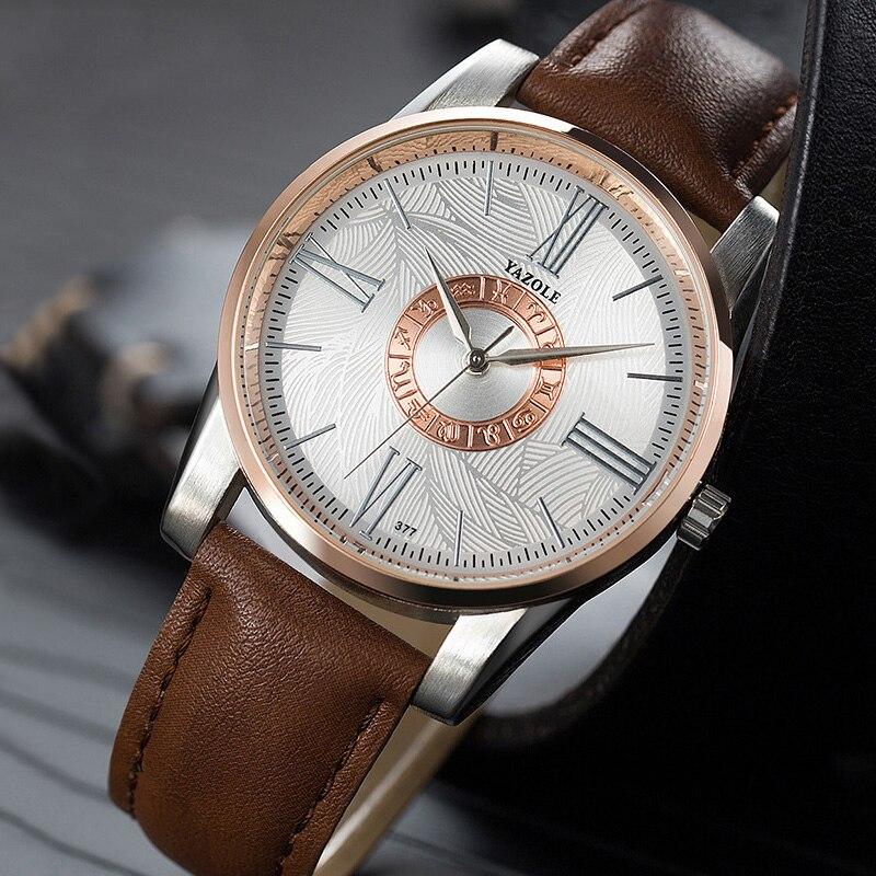 YAZOLE Watch Men Watches Luxury Roman Numerals Male Quartz Wrist Watch For Men Business Clock Wristwatch Hours Relogio Masculino