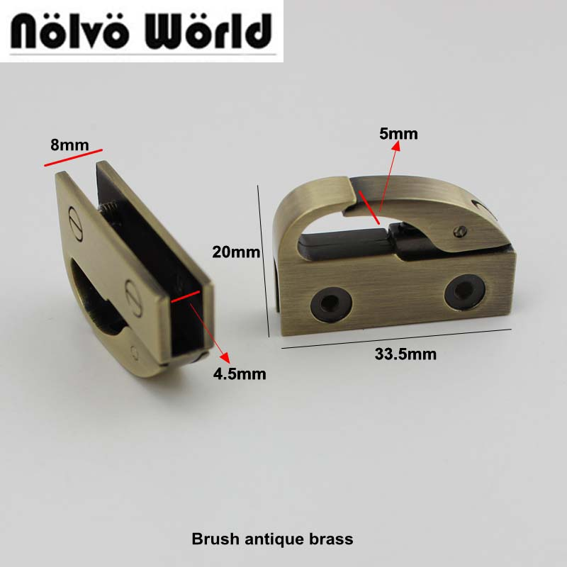 30pcs 3colors 33.5*20mm  Handbag Two Side Clips Die Casting Gold Color Hardware Bags Clasp Accessory Metal Clip