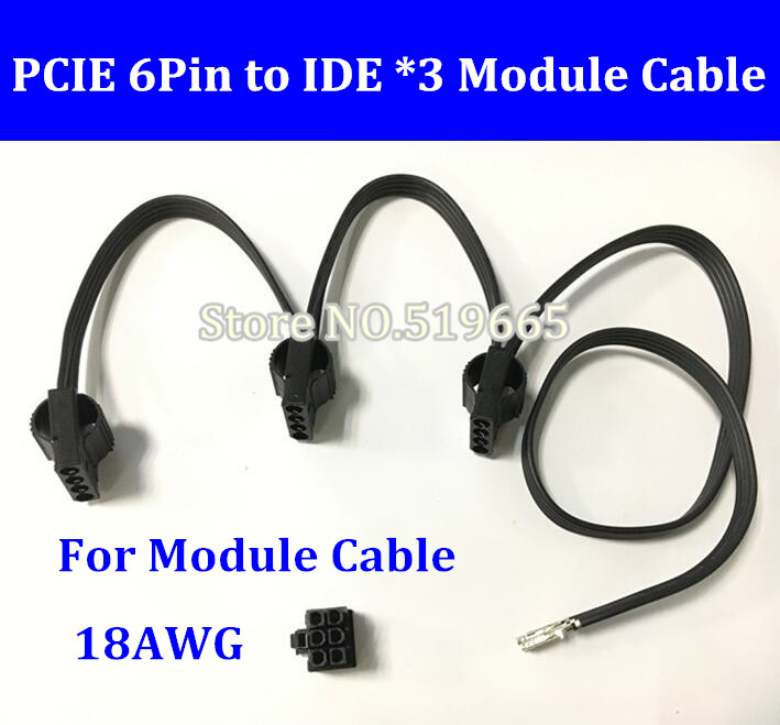 DIY 6Pin PCI-E to 3 * IDE Molex 4pin Modular Power Supply Adapter Cable for Seasonic KM3 Series/seasonic SS-620GM/V850