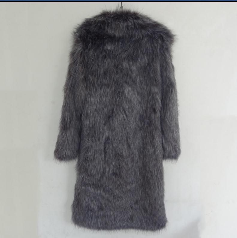 S/5Xl Men Long Section Large Size Imitation Fox Fur Outwears Warm Male Leisure Man-Made Fur Outwears Clothes Winter Jackets K762