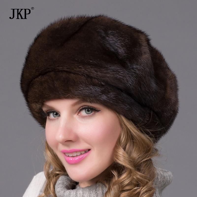 Натуральный мех норки шляпа и стразами новые модные крышка восьмиугольная русский Соболь Pi Beilei Хорошее качество элегантная шляпа DHY 70