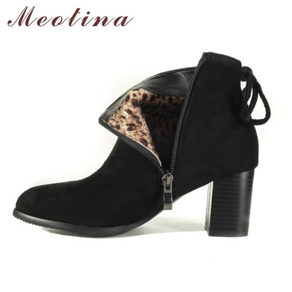 Meotina/женские ботильоны; зимние ботинки на высоком каблуке; короткие ботинки с бантом на блочном каблуке; женская короткая обувь; цвет красный, черный, синий; большие размеры 43