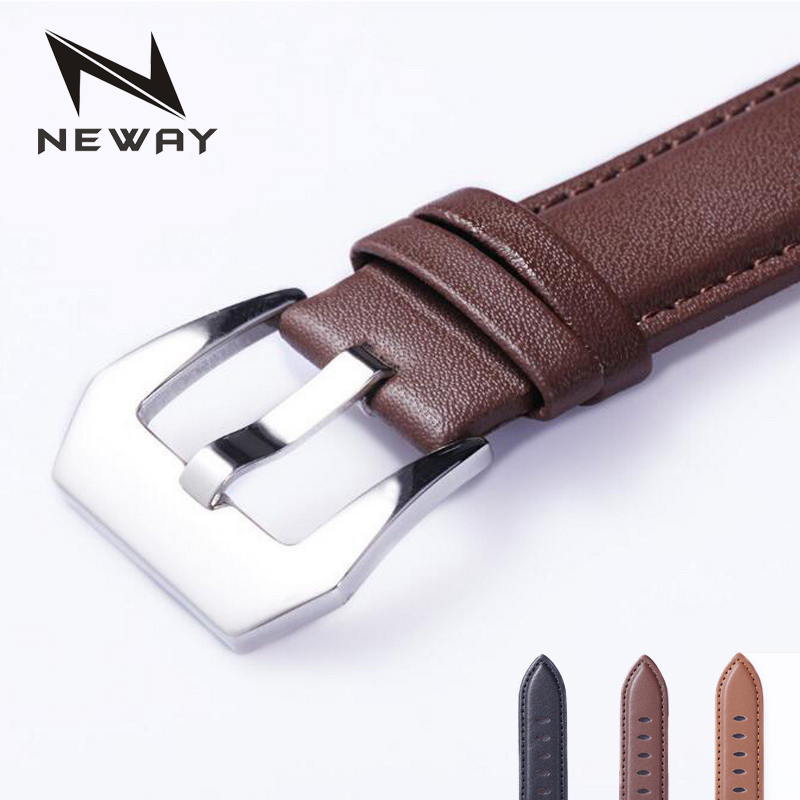 neway Genuine Leather Watch Band Wrist Strap 20mm 22mm 24mm for Penarai Steel Buckle Replacement Bracelet Belt Black Brown neway stainless steel milanese watch band strap wrist watchband wristwatch buckle black rose gold silver 18mm 20mm 22mm 24mm