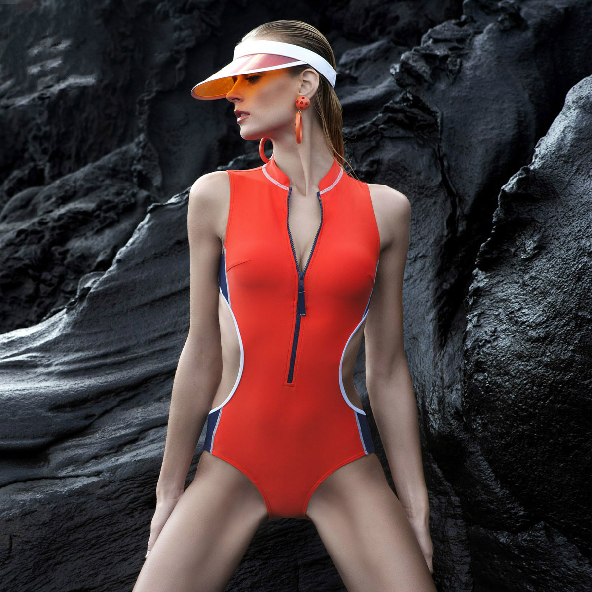 NIUMO New Professional swimsuit woman High collar one piece Small breasts together big yards conservative niumo new one piece swimsuit woman skirt type small chest gather hot springs student swimsuit beach swim swimwear