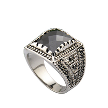 Size 8-10 Free Shipping 18K White Gold Plated Black Stone Ring For Man Fashion