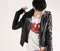 Черная Куртка мотоциклетная мужская куртка из искусственной кожи и пальто 2019 зимняя новая Корейская тонкая мужская куртка из искусственно...