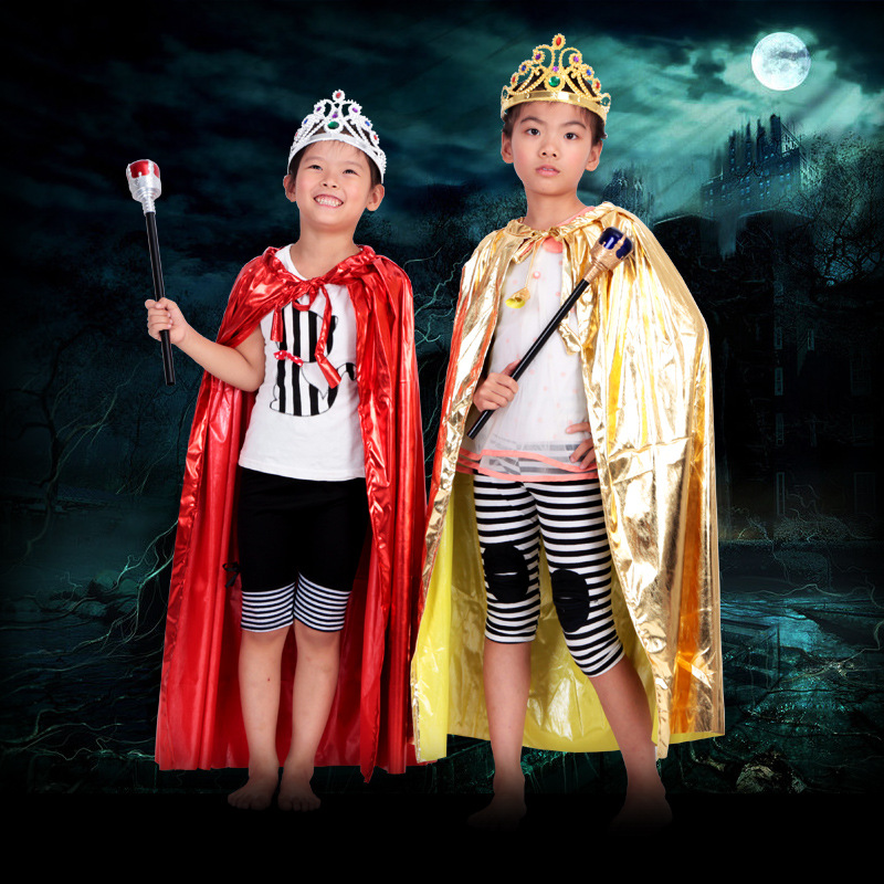Halloween Costume Cloak  Masquerade Party King Queen Princess Cloak For Kids Boys Girls 90cm Sequin Clothes Set, 180g купить