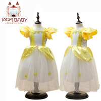 Girls Dress Princess Belle Dress Halloween Party Dress Cosplay Constume Mesh With Printing Flower Petal Sleeve