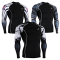 New 2016 Mens Tights Skins Compression Shirts Base Layer Long Sleeves Sides Prints Tops Shirts Bodybuilding Muscle Men Wear