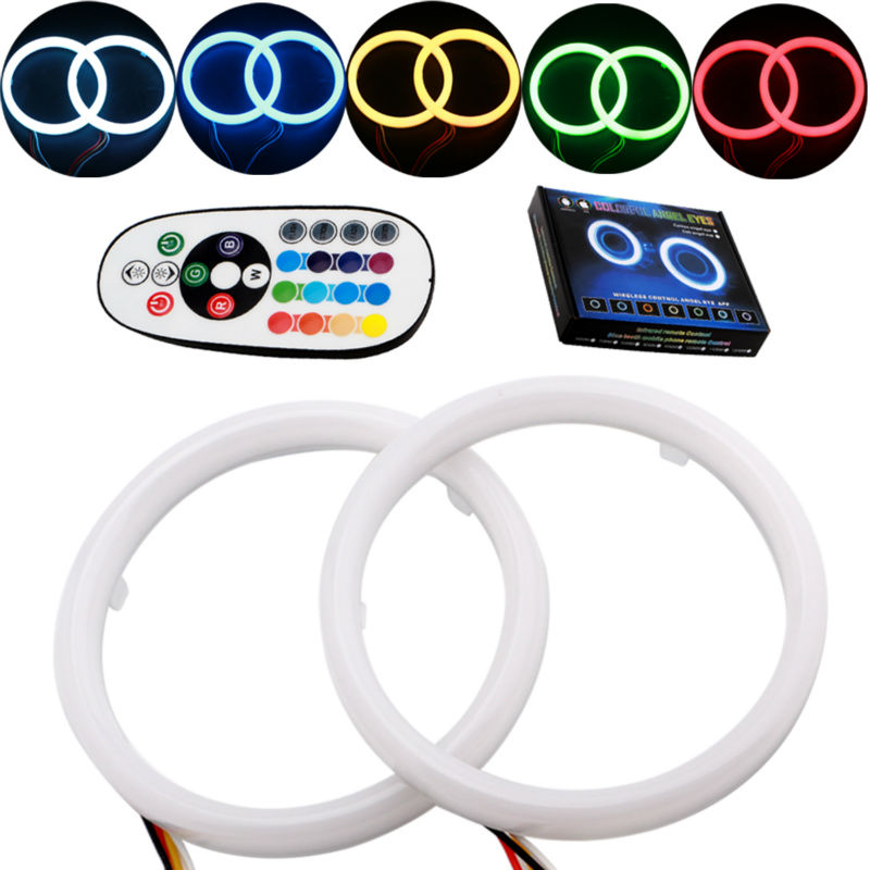 Car Angel Eyes 2PCS/Set Auto Halo Rings Angel Eye 12V Headlight 2835SMD Motorcycle 80MM 95MM RGB 16Modes With Remote Controller polaris rzr 900 rzr 1000 xp set led headlight with halo rings angel eyes white red yellow green blue