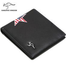 KANGAROO KINGDOM luxury men wallets fashion genuine leather slim bifold male pocket wallet ID credit card holder purse