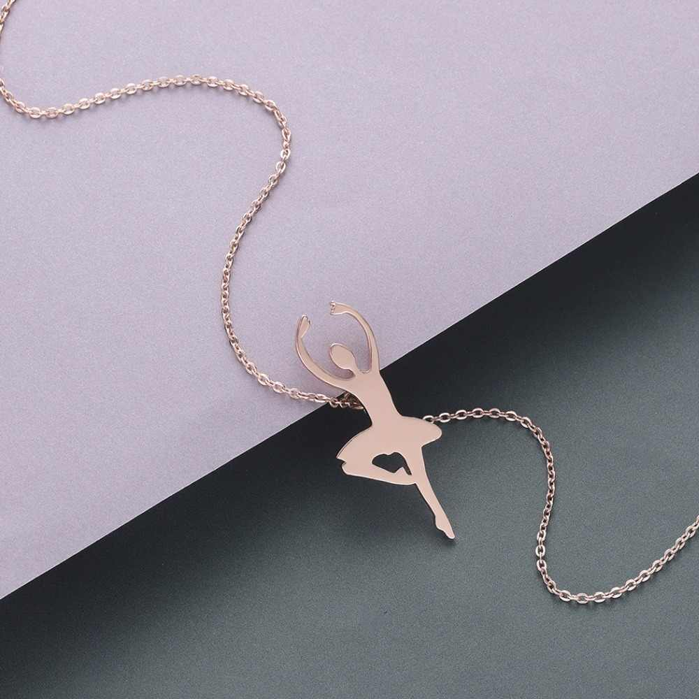 QIMING Elegant Ballerina Ballet Women's Necklace Korean Wedding Statement Jewelry Accessories Dance Dancer Girls Necklace