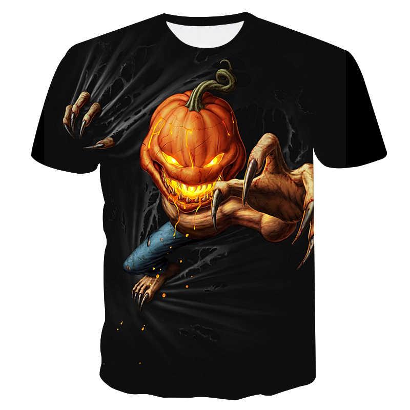 마녀 2019 여름 뜨거운 판매 남자의 해골 t-셔츠 남여 캐주얼 셔츠 할로윈 패션 t-셔츠 3d 인쇄 페이 스북 반팔