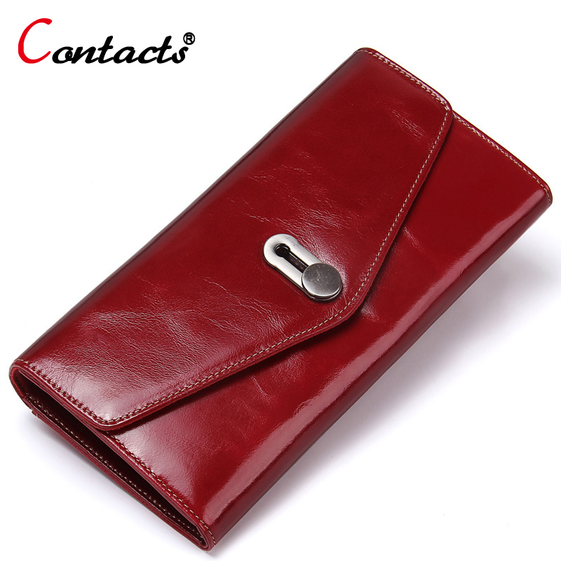 CONTACT'S Women Wallet Genuine Leather Wallet Women Coin Purse Phone Credit Card Holder Female Long Women Wallet And Purse Red luxury long genuine leather wallet women bag crocodile pattern women s wallets cowhide bank credit card holder purse coin purse