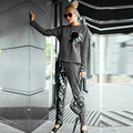 2016 New Long Sleeve Tops Sequined Cotton Sweatshirt and Long Pants 2 Piece Set Women Autumn Casual Suits Sportswear Suit Gray