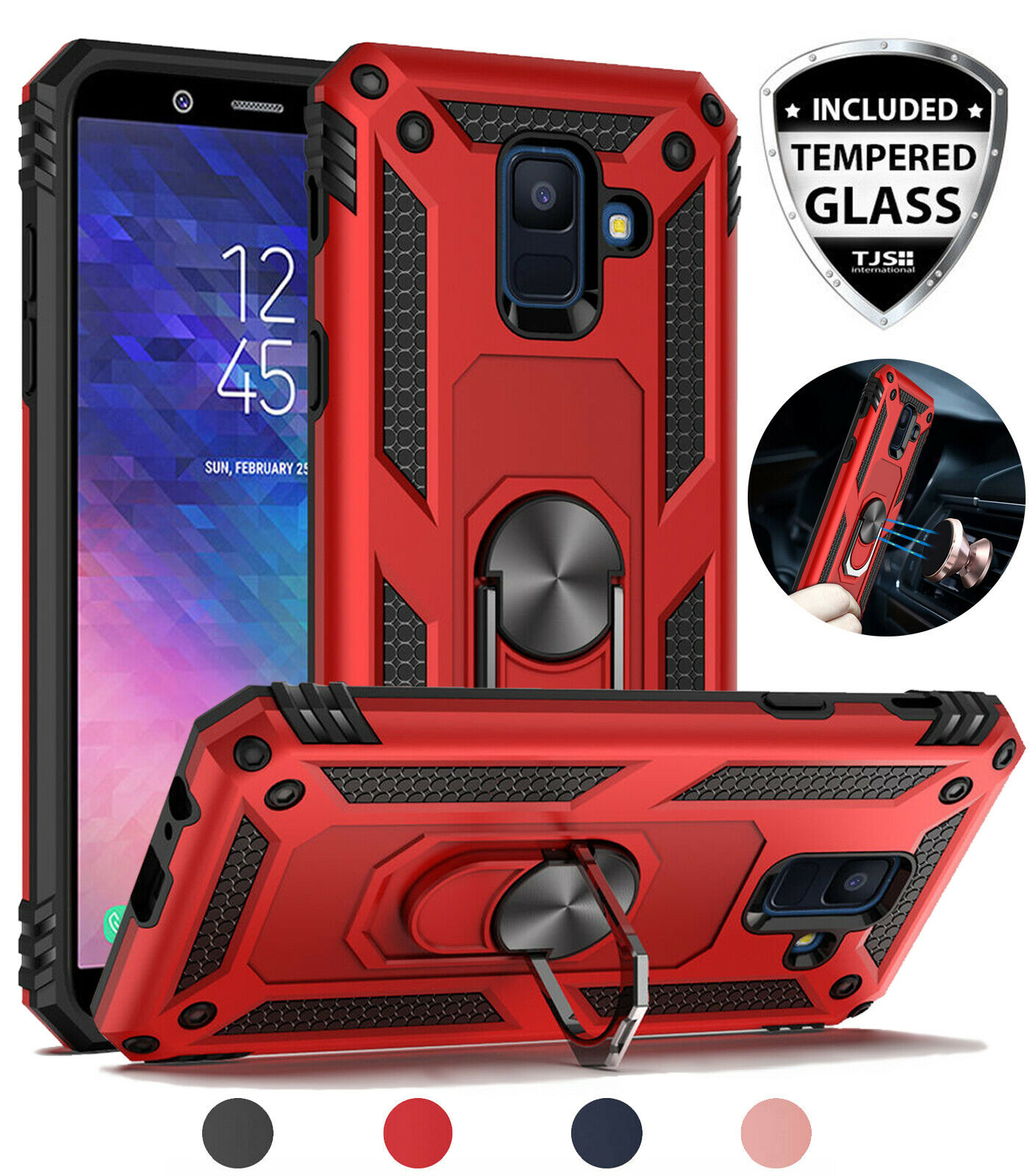 Galaxy A6 2018 Case Magnetic Support Metal Ring Stand Cover with 9H Clear Glass Screen Protector For Samsung Galaxy A6 2018