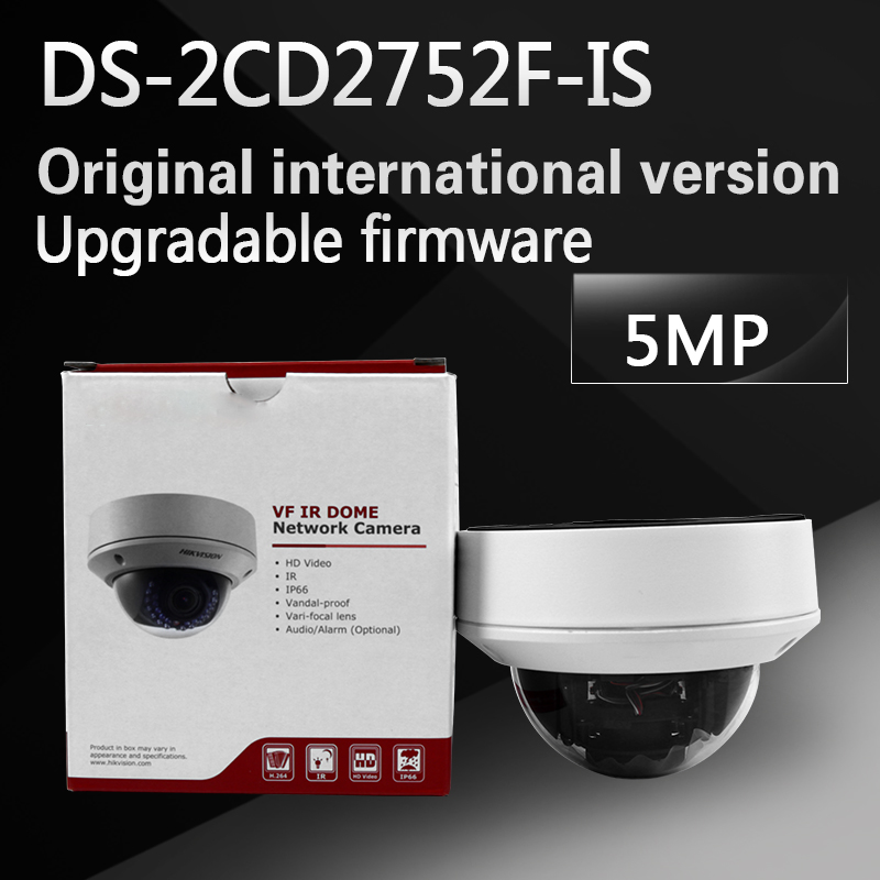 DHL free shipping english version DS-2CD2752F-IS replace DS-2CD2755F-IS 5MP dome POE cctv camera with  varifocal lens 2.8-12mm in stock free shipping ds 2cd1631fwd i replace ds 2cd2632f is ds 2cd2635f is zj varifocal zoom ip poe camera outdoor camera