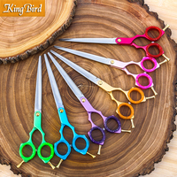 Professional Pet Dog Grooming Scissors 7 Inch Dog Hair Shears Straight 6 Color Handle Super Japan 440C Kingbird TOP CLASS NEW